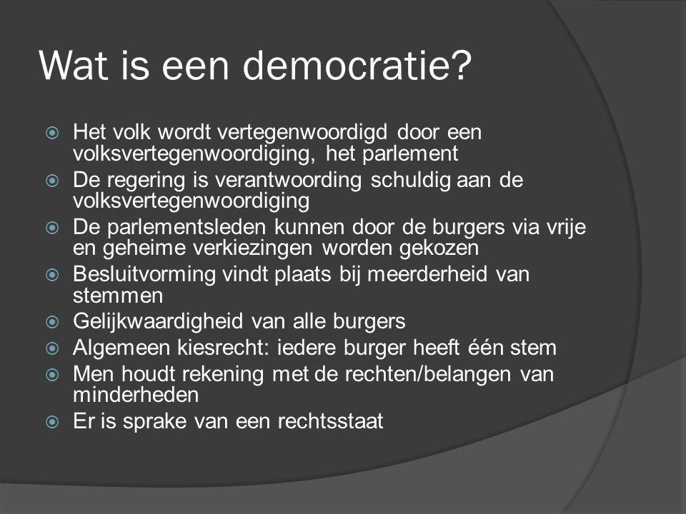 Wat is een democratie Het volk wordt vertegenwoordigd door een volksvertegenwoordiging, het parlement.