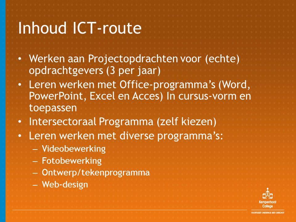 Inhoud ICT-route Werken aan Projectopdrachten voor (echte) opdrachtgevers (3 per jaar)