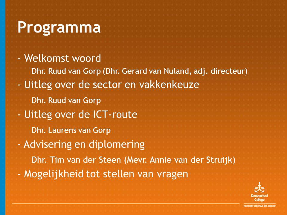 Programma - Welkomst woord - Uitleg over de sector en vakkenkeuze