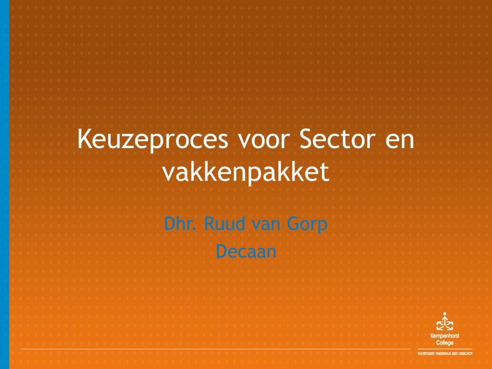 Keuzeproces voor Sector en vakkenpakket