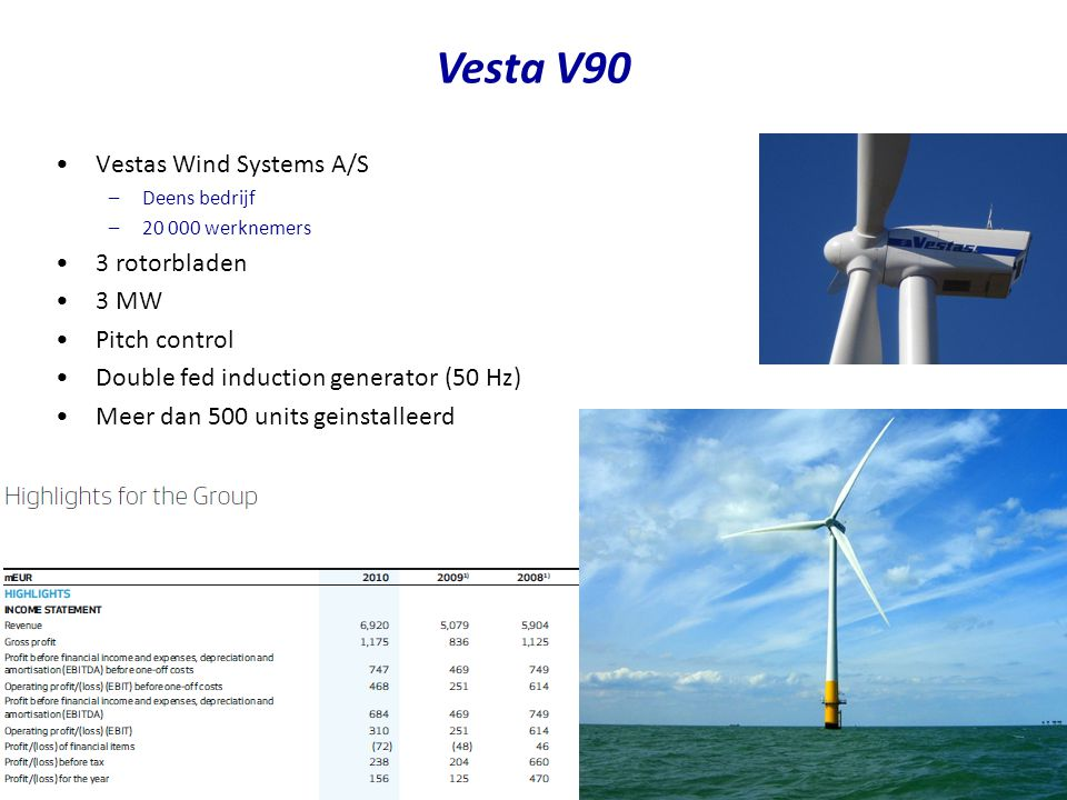 Vesta V90 Vestas Wind Systems A/S 3 rotorbladen 3 MW Pitch control