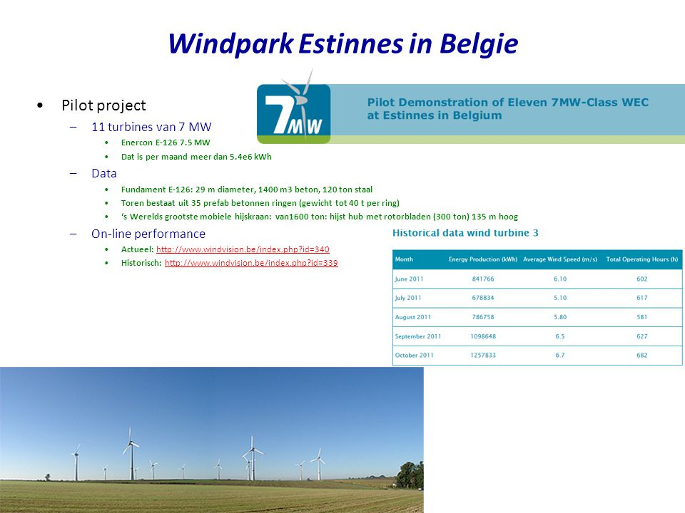Windpark Estinnes in Belgie