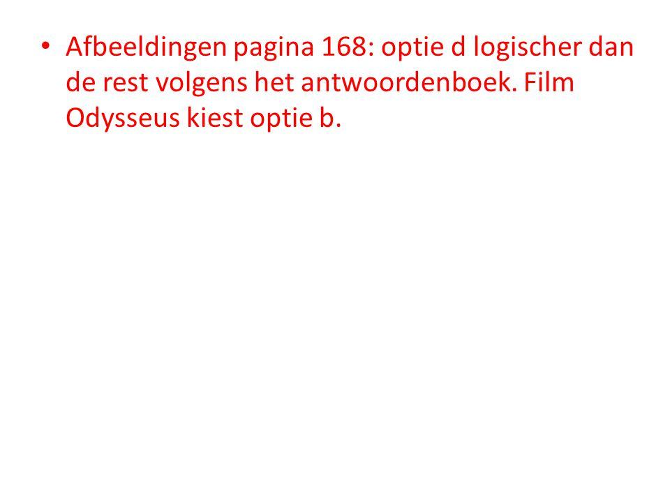 Afbeeldingen pagina 168: optie d logischer dan de rest volgens het antwoordenboek.