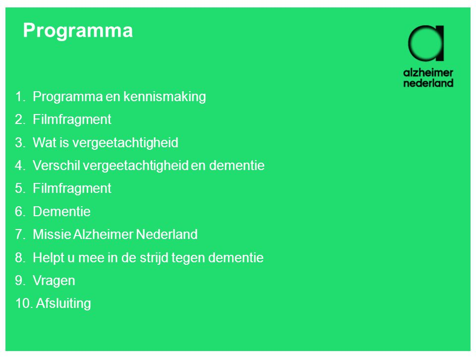 Programma Programma en kennismaking Filmfragment