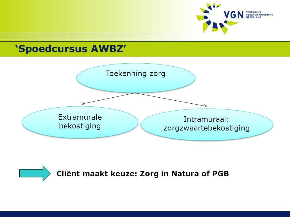'Spoedcursus AWBZ' Toekenning zorg Extramurale bekostiging
