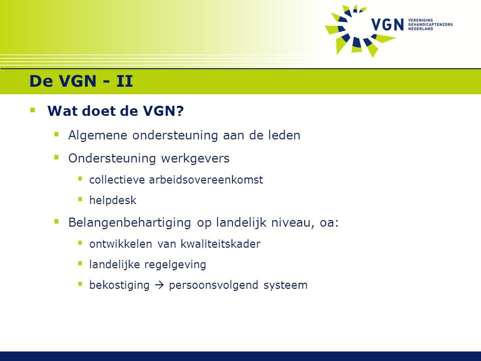 De VGN - II Wat doet de VGN Algemene ondersteuning aan de leden