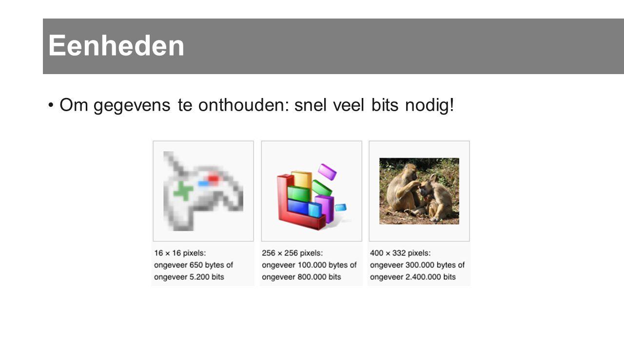 Eenheden Om gegevens te onthouden: snel veel bits nodig!