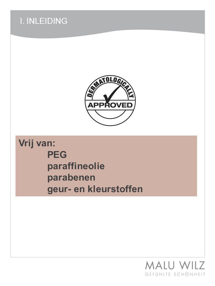 Vrij van: PEG paraffineolie parabenen geur- en kleurstoffen