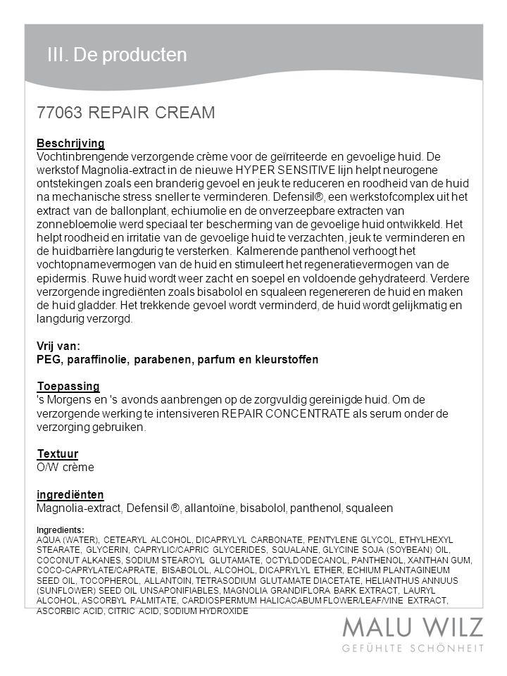 III. De producten 77063 REPAIR CREAM Beschrijving
