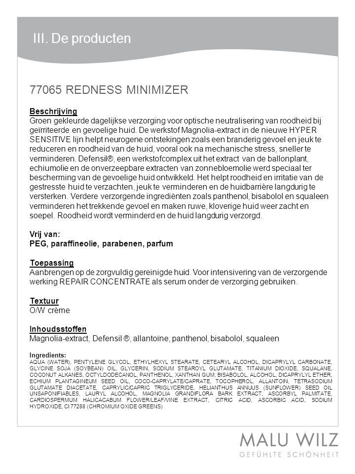 III. De producten 77065 REDNESS MINIMIZER Beschrijving