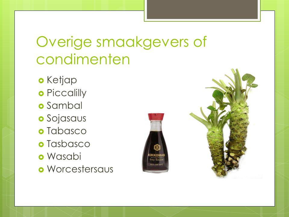 Overige smaakgevers of condimenten