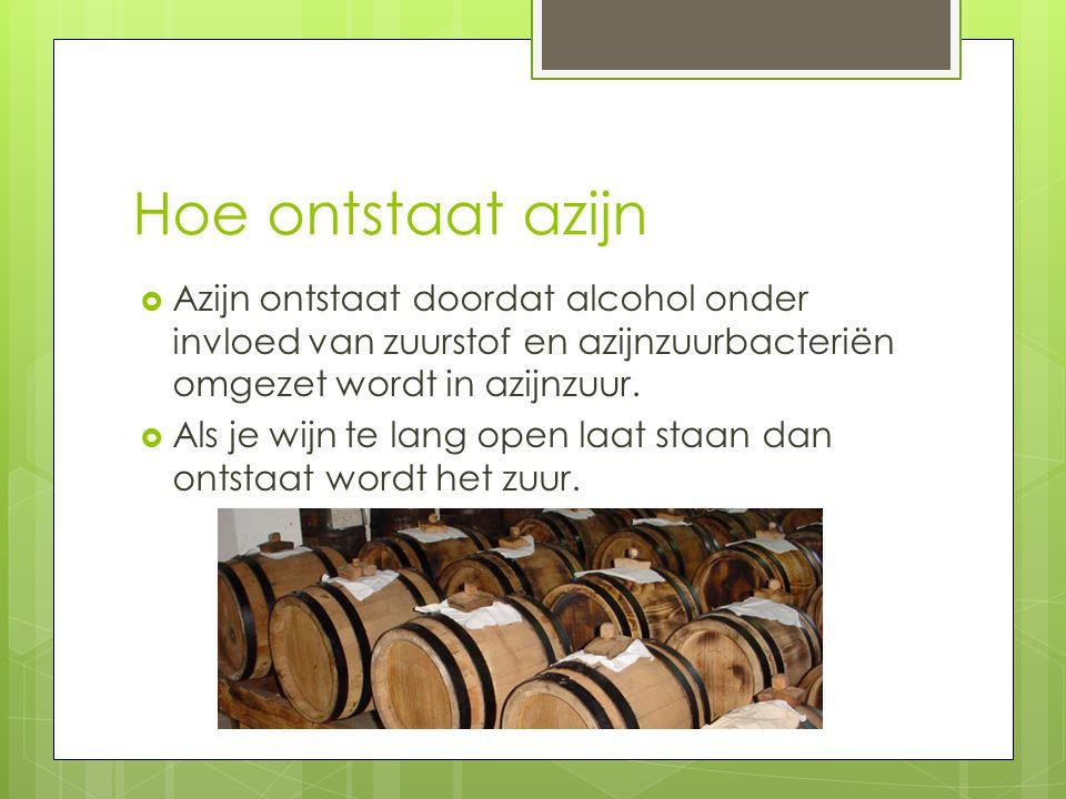Hoe ontstaat azijn Azijn ontstaat doordat alcohol onder invloed van zuurstof en azijnzuurbacteriën omgezet wordt in azijnzuur.