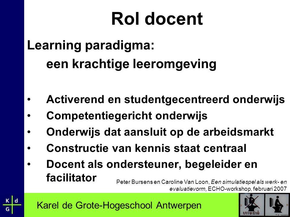 Rol docent Learning paradigma: een krachtige leeromgeving