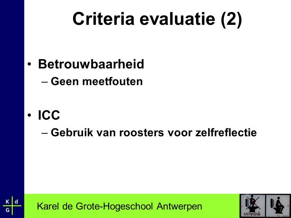 Criteria evaluatie (2) Betrouwbaarheid ICC Geen meetfouten