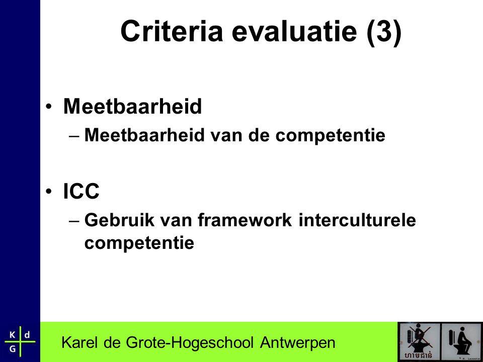 Criteria evaluatie (3) Meetbaarheid ICC