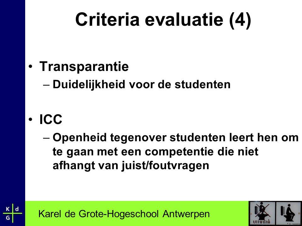Criteria evaluatie (4) Transparantie ICC
