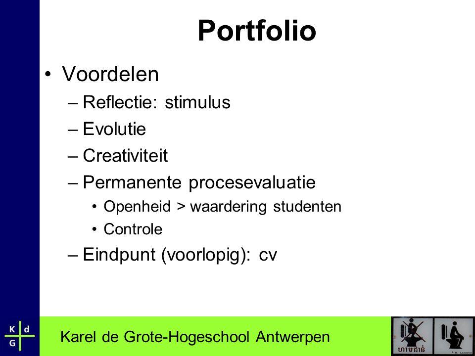 Portfolio Voordelen Reflectie: stimulus Evolutie Creativiteit