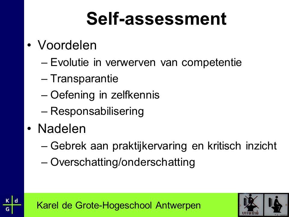 Self-assessment Voordelen Nadelen