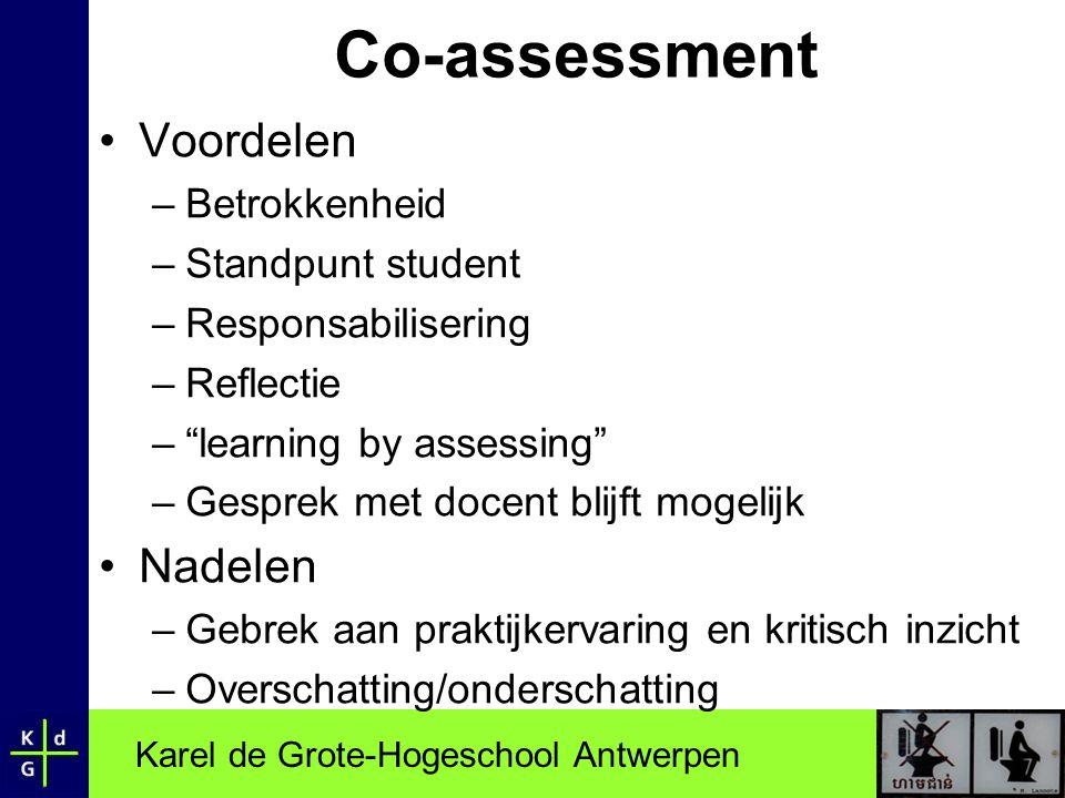 Co-assessment Voordelen Nadelen Betrokkenheid Standpunt student