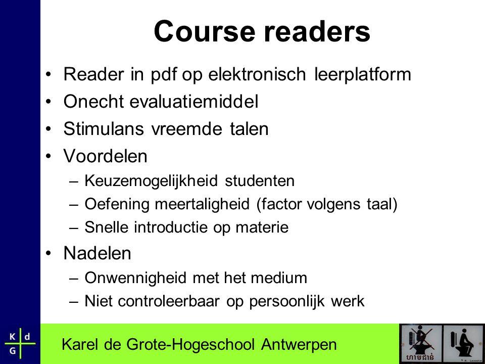Course readers Reader in pdf op elektronisch leerplatform