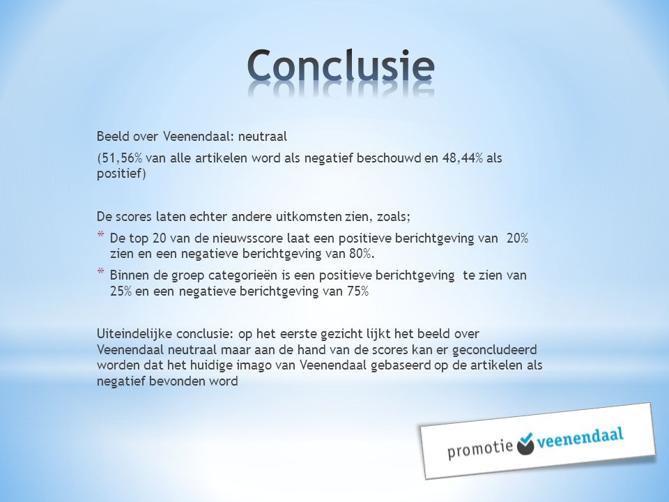 Conclusie Beeld over Veenendaal: neutraal
