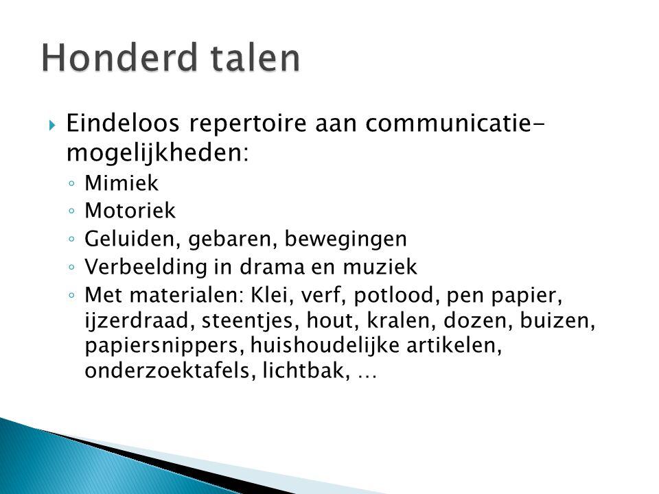 Honderd talen Eindeloos repertoire aan communicatie- mogelijkheden: