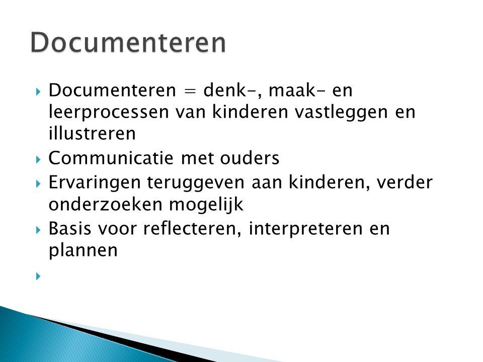 Documenteren Documenteren = denk-, maak- en leerprocessen van kinderen vastleggen en illustreren.