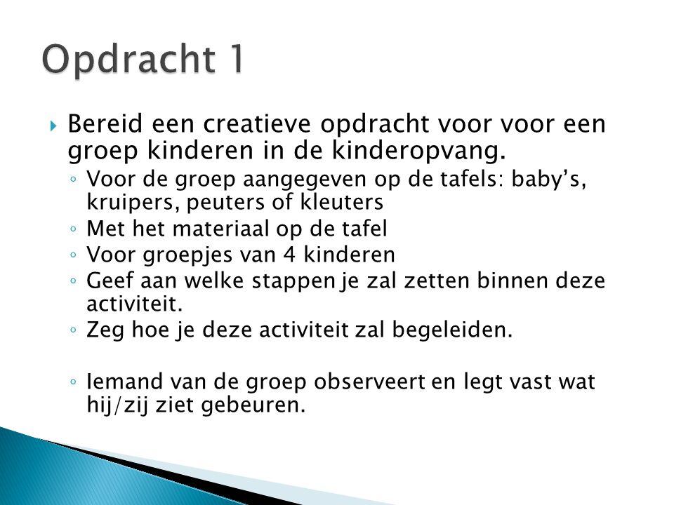 Opdracht 1 Bereid een creatieve opdracht voor voor een groep kinderen in de kinderopvang.