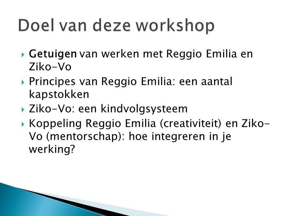 Doel van deze workshop Getuigen van werken met Reggio Emilia en Ziko-Vo. Principes van Reggio Emilia: een aantal kapstokken.