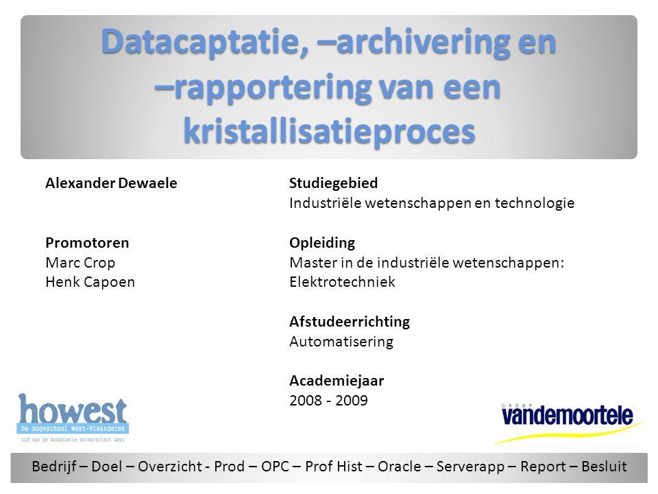 Datacaptatie, –archivering en –rapportering van een kristallisatieproces