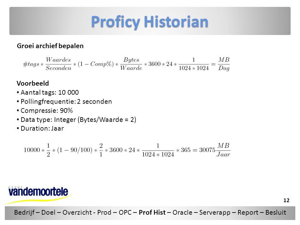 Proficy Historian Groei archief bepalen Voorbeeld Aantal tags: 10 000