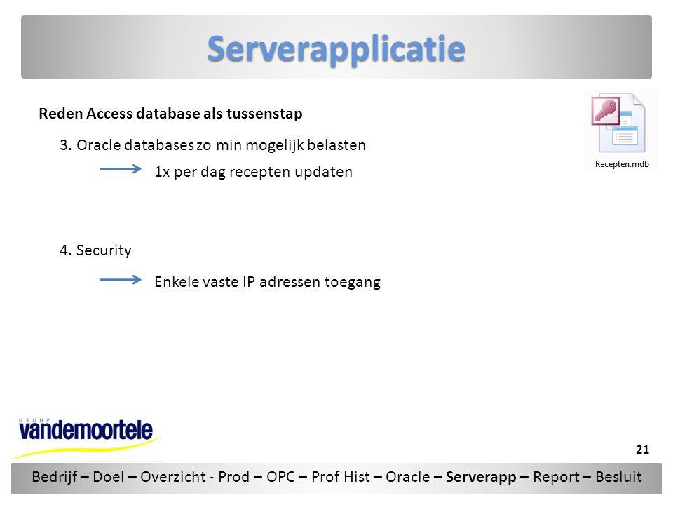 Serverapplicatie Reden Access database als tussenstap