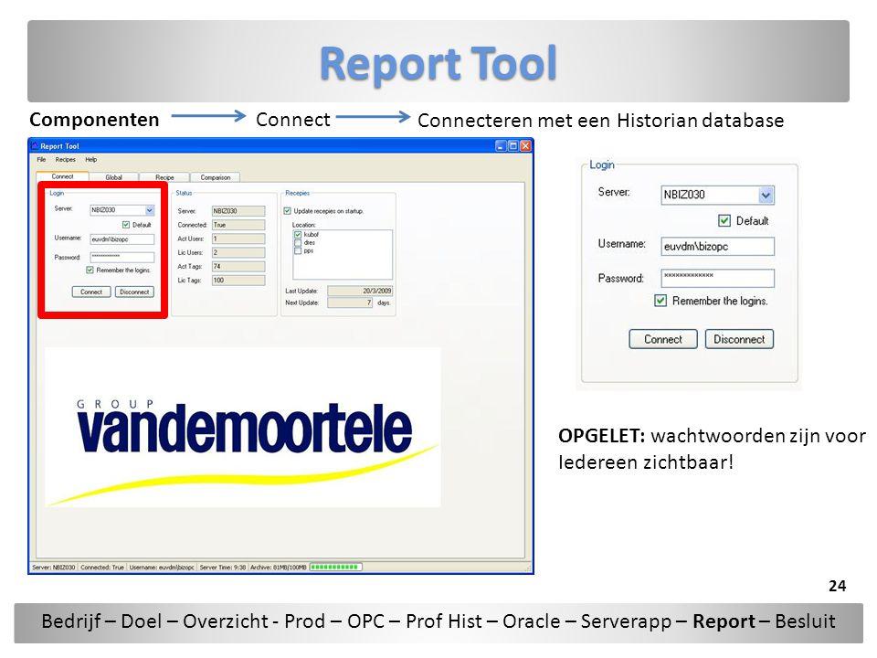 Report Tool Componenten Connect Connecteren met een Historian database