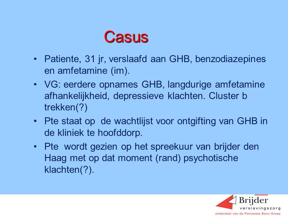 Casus Patiente, 31 jr, verslaafd aan GHB, benzodiazepines en amfetamine (im).