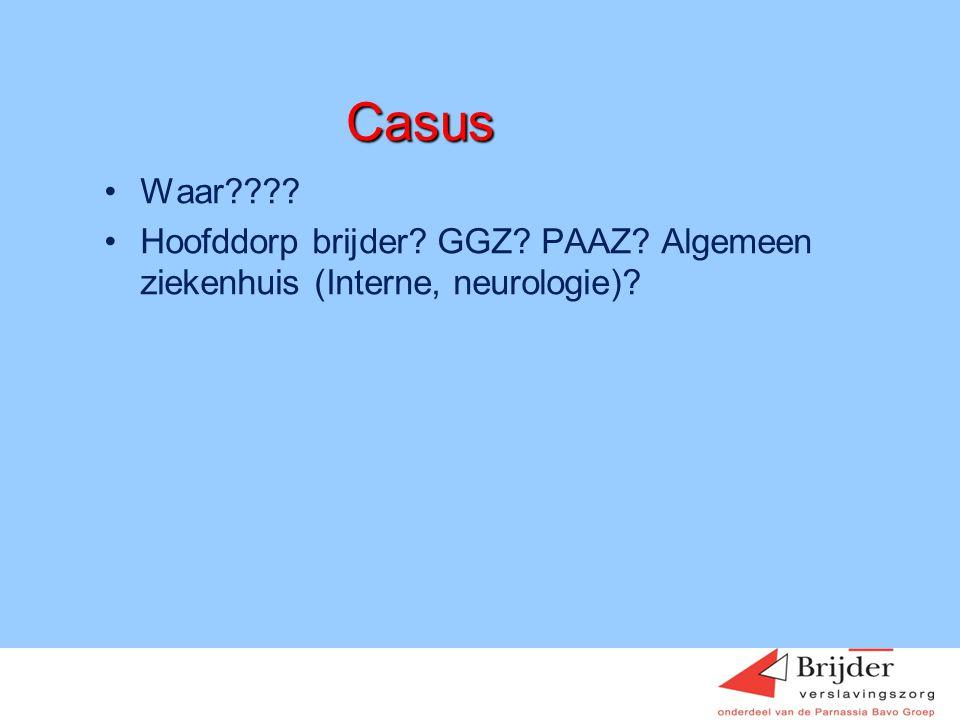Casus Waar Hoofddorp brijder GGZ PAAZ Algemeen ziekenhuis (Interne, neurologie) Hein Sigling januari 2009.