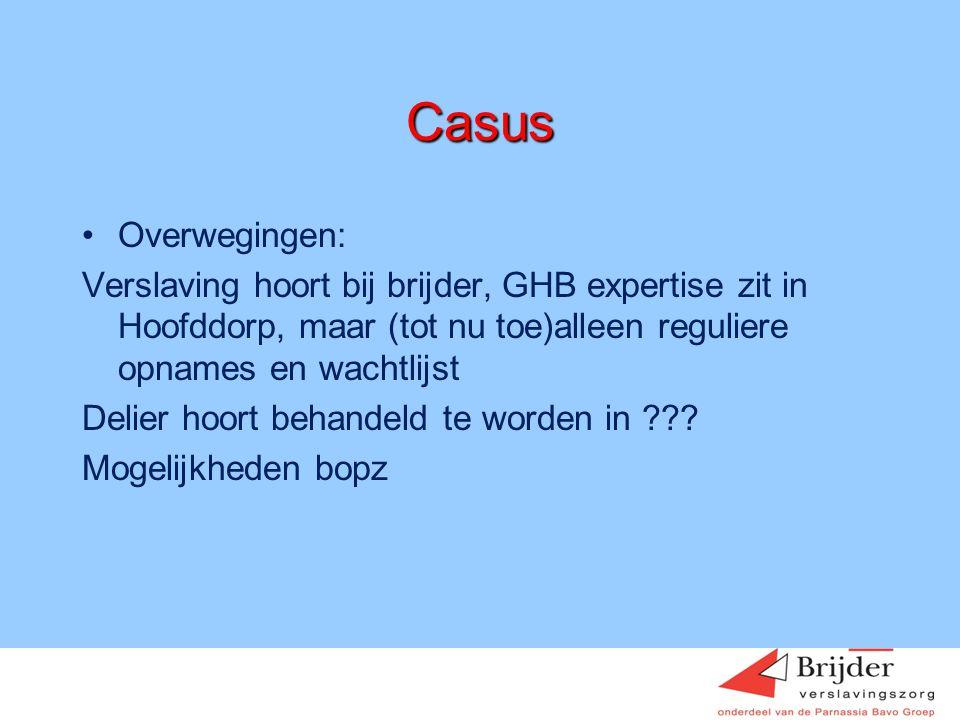Casus Overwegingen: Verslaving hoort bij brijder, GHB expertise zit in Hoofddorp, maar (tot nu toe)alleen reguliere opnames en wachtlijst.