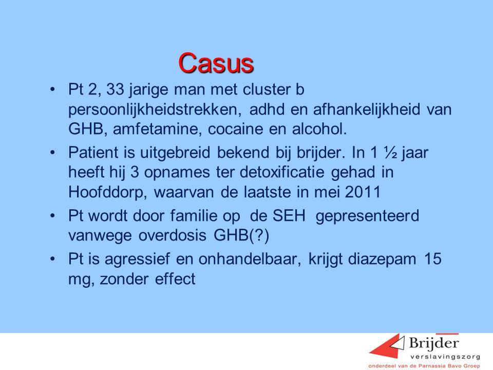 Casus Pt 2, 33 jarige man met cluster b persoonlijkheidstrekken, adhd en afhankelijkheid van GHB, amfetamine, cocaine en alcohol.