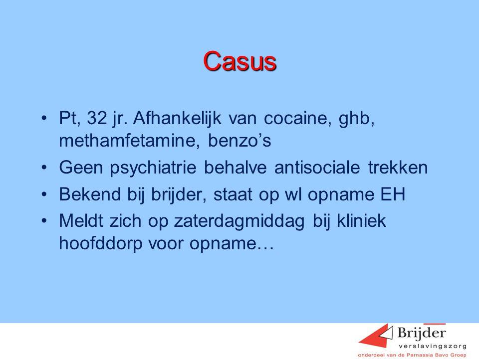 Casus Pt, 32 jr. Afhankelijk van cocaine, ghb, methamfetamine, benzo's