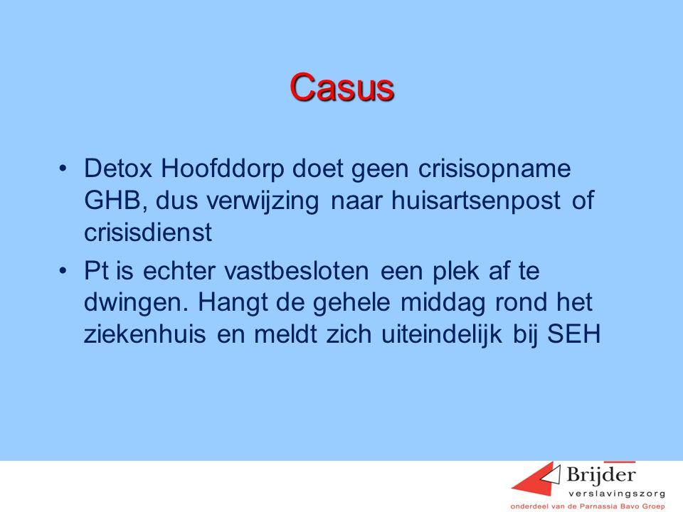 Casus Detox Hoofddorp doet geen crisisopname GHB, dus verwijzing naar huisartsenpost of crisisdienst.