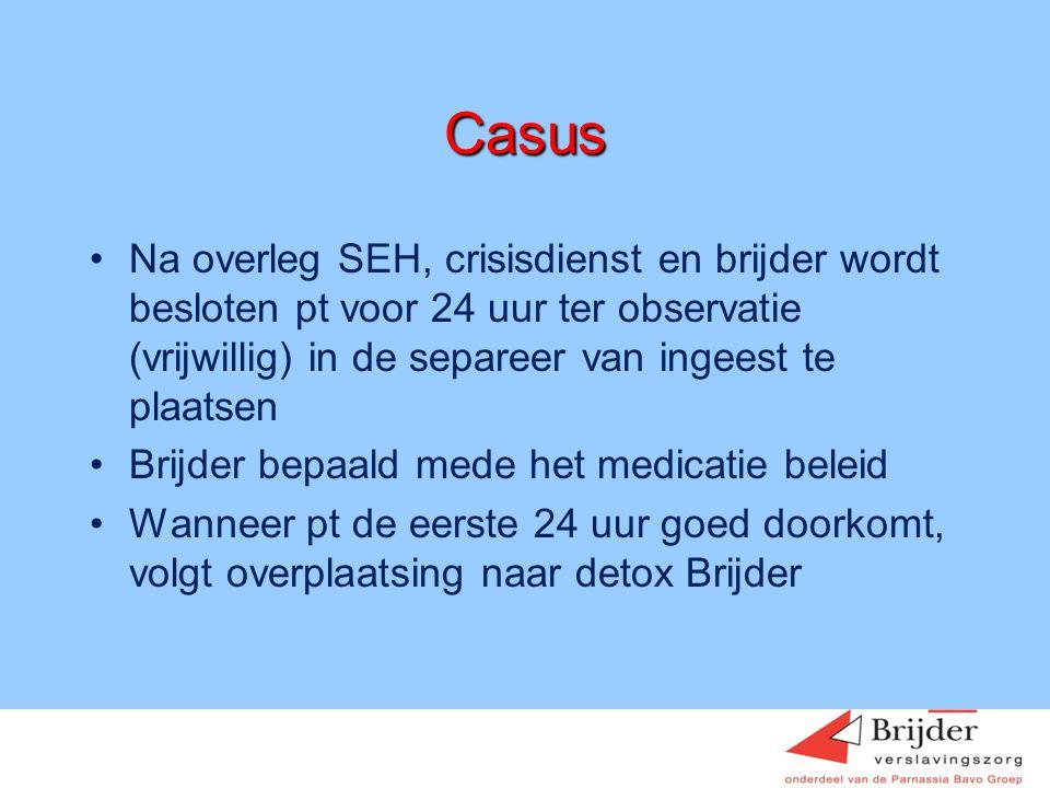 Casus Na overleg SEH, crisisdienst en brijder wordt besloten pt voor 24 uur ter observatie (vrijwillig) in de separeer van ingeest te plaatsen.