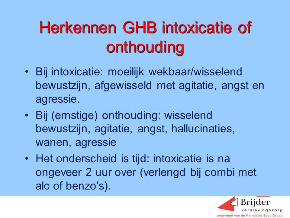 Herkennen GHB intoxicatie of onthouding