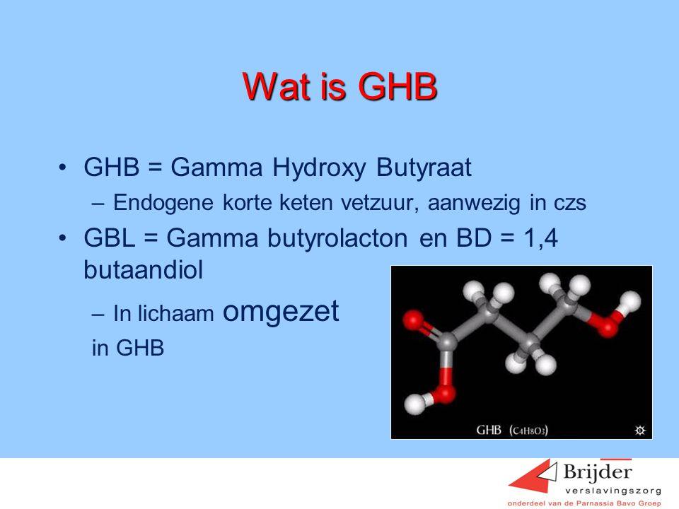 Wat is GHB GHB = Gamma Hydroxy Butyraat