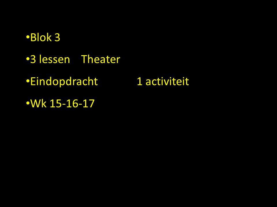 Blok 3 3 lessen Theater Eindopdracht 1 activiteit Wk 15-16-17