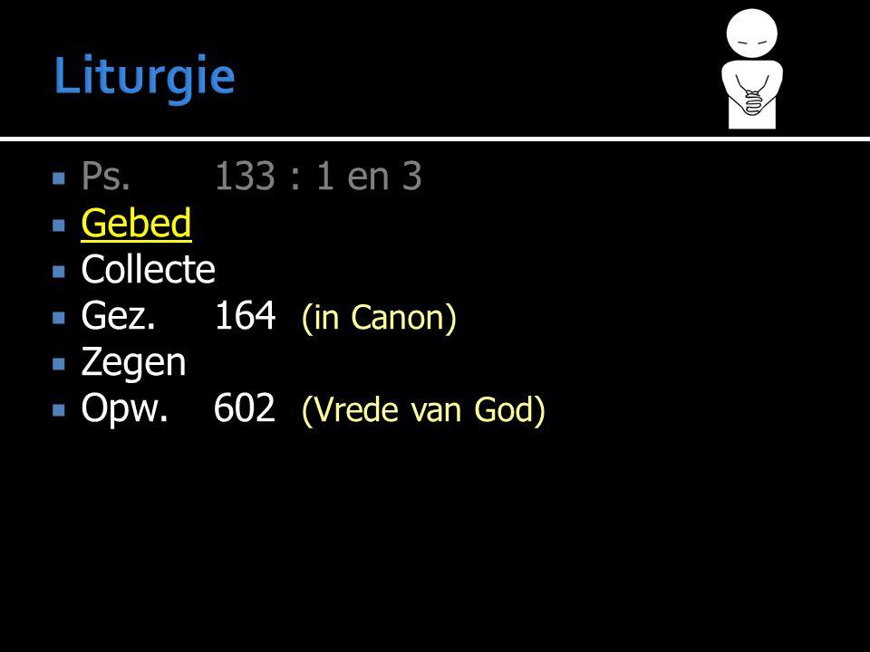 Liturgie Ps. 133 : 1 en 3 Gebed Collecte Gez. 164 (in Canon) Zegen