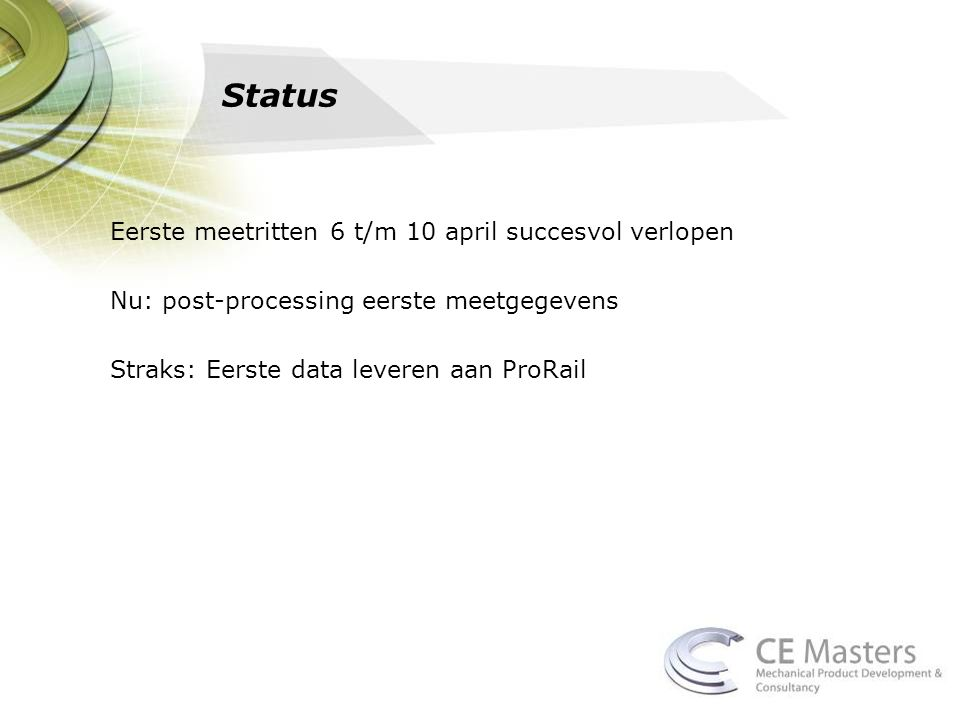 Status Eerste meetritten 6 t/m 10 april succesvol verlopen