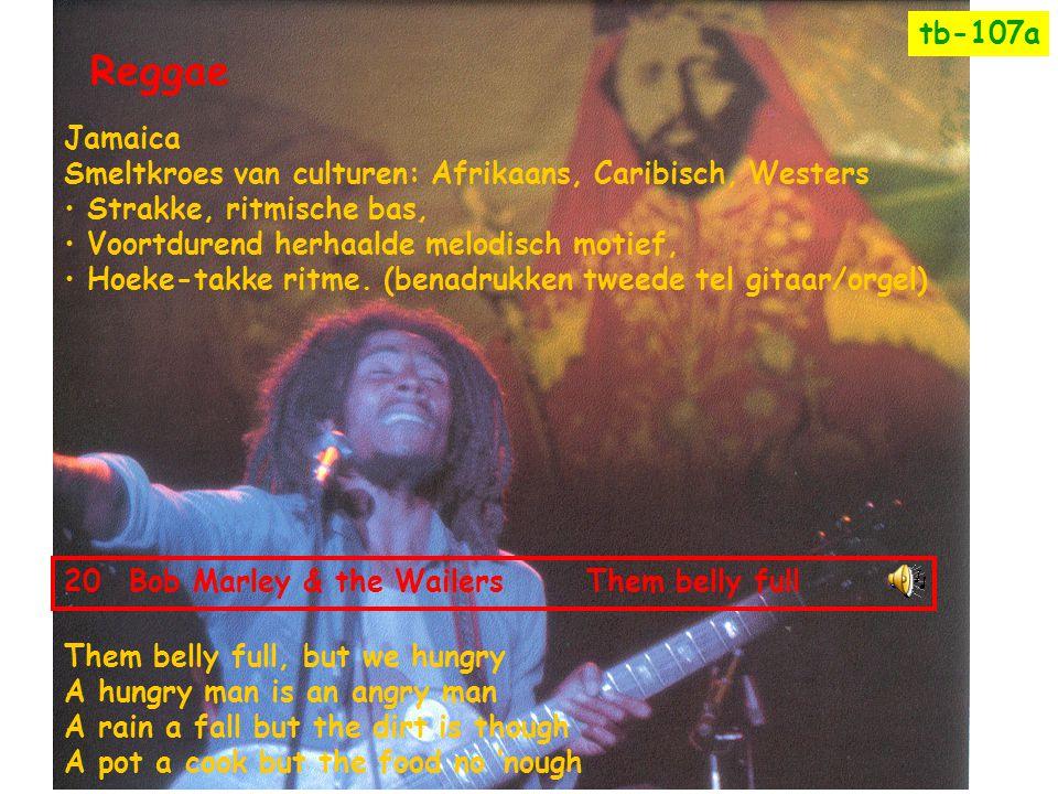 tb-107a Reggae. Jamaica. Smeltkroes van culturen: Afrikaans, Caribisch, Westers. Strakke, ritmische bas,