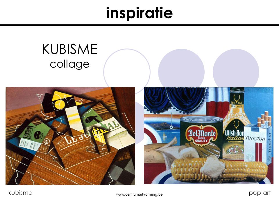 inspiratie KUBISME collage kubisme pop-art www.centrumartvorming.be