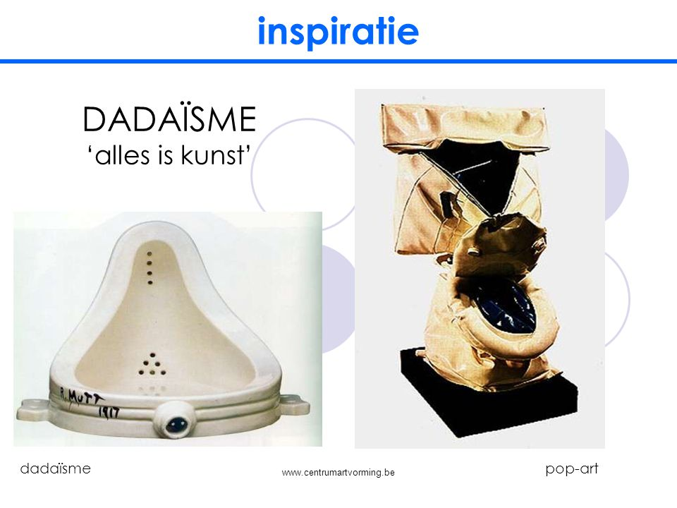 inspiratie DADAÏSME 'alles is kunst' dadaïsme pop-art