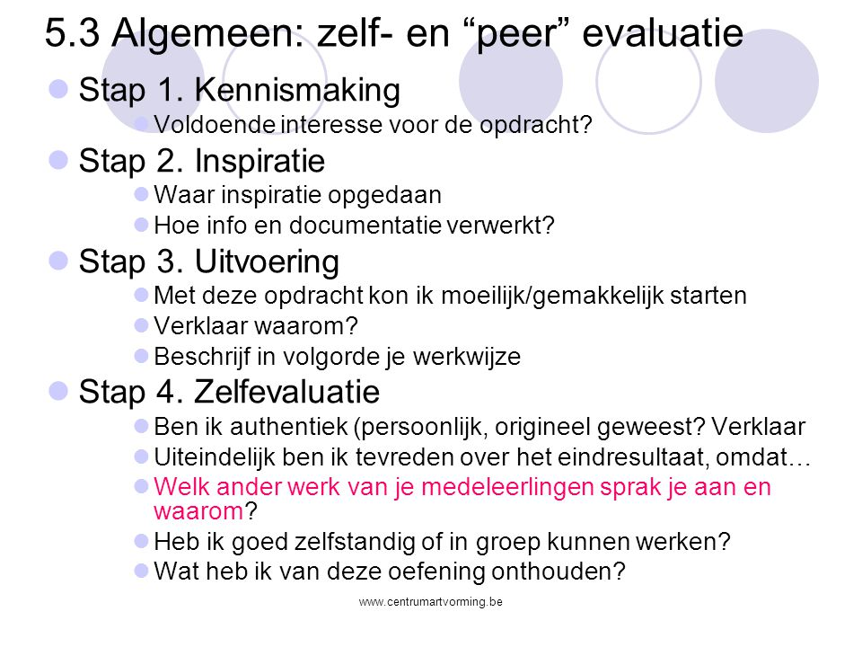 5.3 Algemeen: zelf- en peer evaluatie