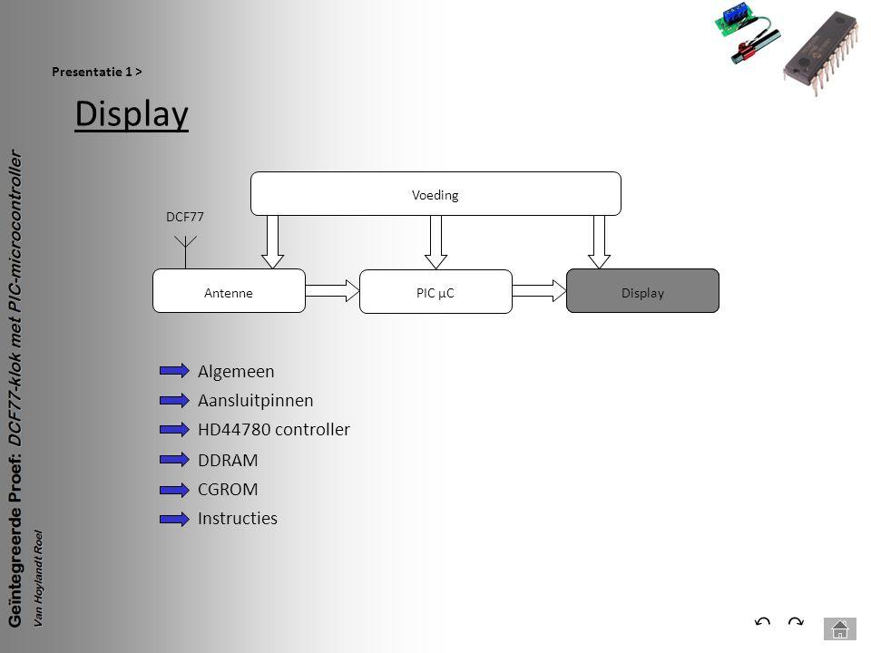 Display ⃔ ⃕ Algemeen Aansluitpinnen HD44780 controller DDRAM CGROM